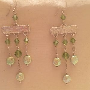 Jewelry - Silver and Green Crystal Earrings